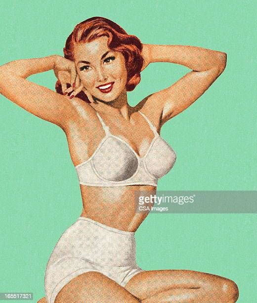 ilustraciones, imágenes clip art, dibujos animados e iconos de stock de mujer en su ropa interior - chicas de calendario