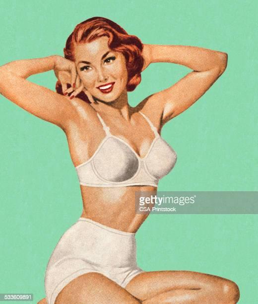 frau in ihrer unterwäsche - pin up girl stock-grafiken, -clipart, -cartoons und -symbole