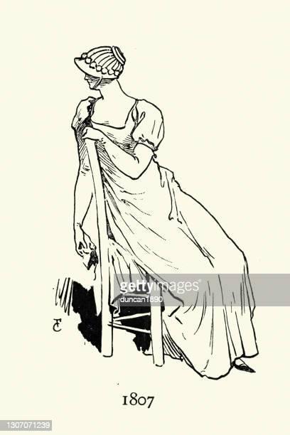 高いワシットドレスを着た女性、パリのファッションは19世紀初頭 - 1800~1809年点のイラスト素材/クリップアート素材/マンガ素材/アイコン素材
