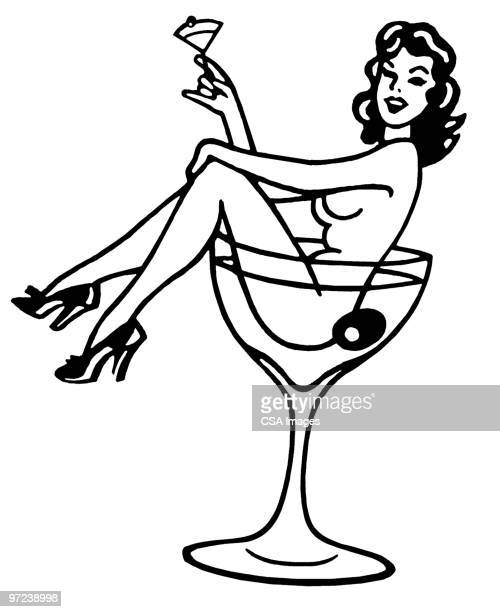 illustrations, cliparts, dessins animés et icônes de woman in martini glass - sensualité