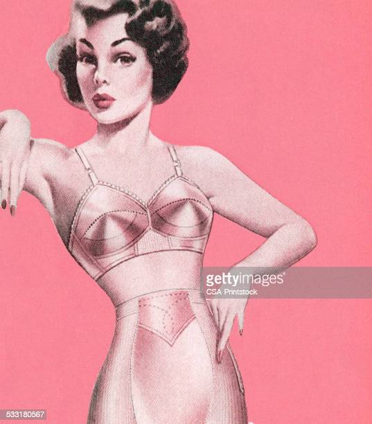 woman in pink undergarments - bra stock illustrations, clip art, cartoons, & icons