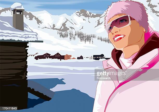 Woman in pink winter outfit by ski lodge
