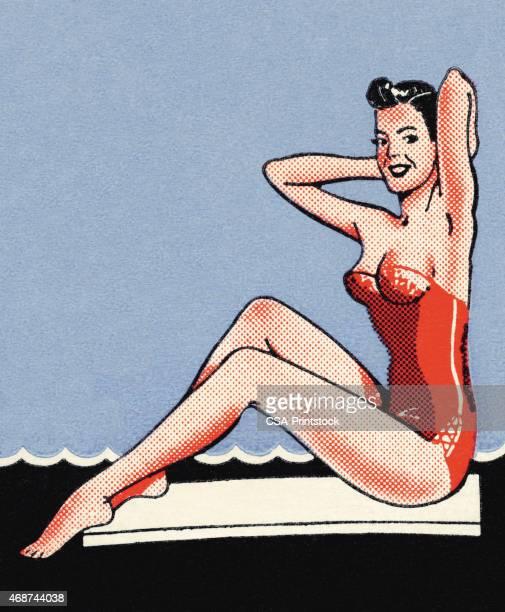 ilustraciones, imágenes clip art, dibujos animados e iconos de stock de mujer de rojo y traje de baño - reina de belleza