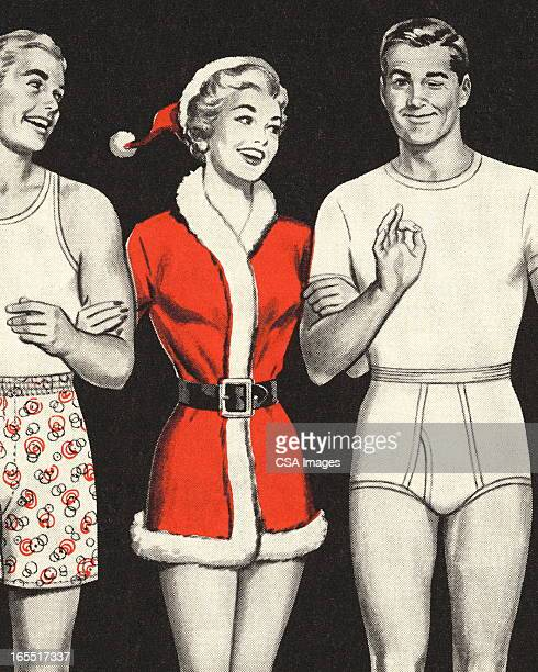 woman in santa outfit with two men in underwear - seduction stock illustrations, clip art, cartoons, & icons
