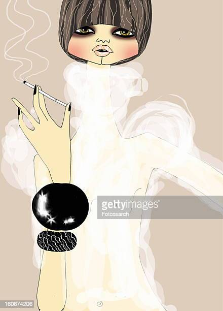 Woman in see-through shirt and bangle bracelet smoking a cigarette