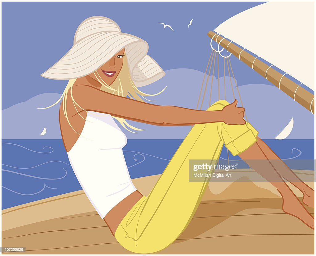 Woman in sun hat sitting on deck : stock illustration
