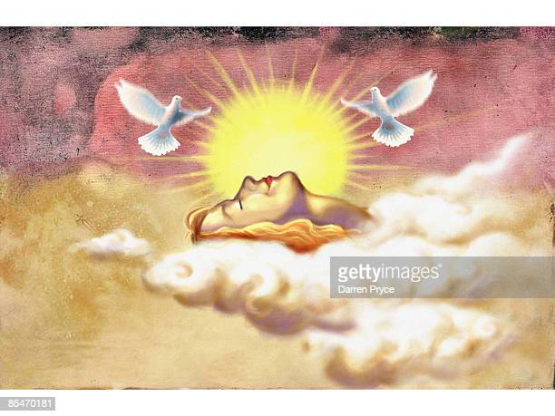 A woman in the clouds with the sun and doves flying above her