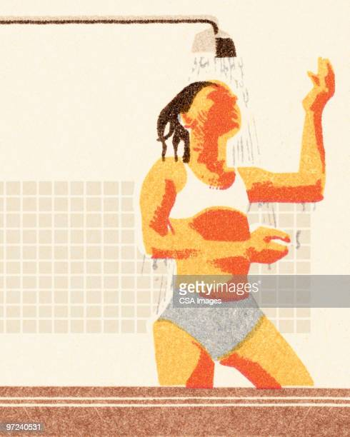 woman in the shower - bathroom stock illustrations