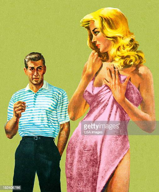 woman in towel looking at man - seduction stock illustrations, clip art, cartoons, & icons