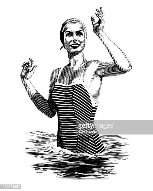 woman in water waving - swimwear stock illustrations, clip art, cartoons, & icons