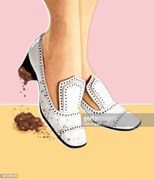 woman in white shoes stepped in poo - feces stock illustrations, clip art, cartoons, & icons