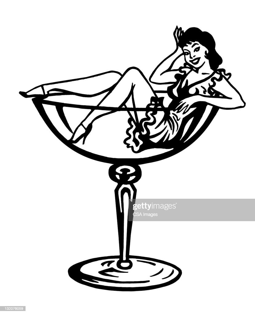 Woman Inside Cocktail Glass : stock illustration