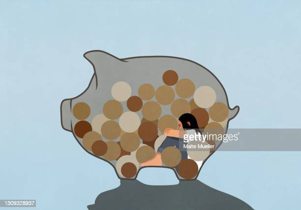 woman inside piggy bank with coins - illustration stock illustrations
