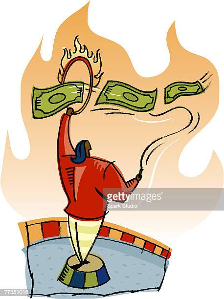 ilustraciones, imágenes clip art, dibujos animados e iconos de stock de a woman instructing money to jump through hoops - azotes