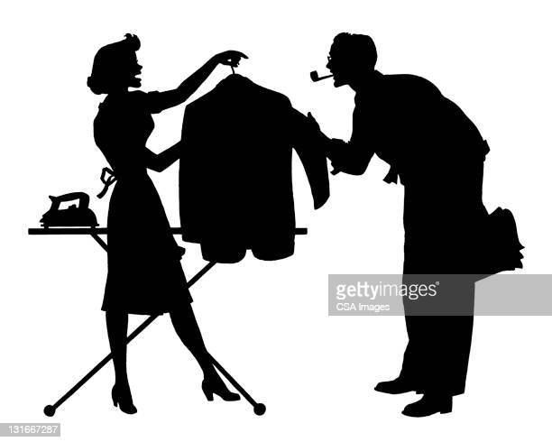 Woman Ironing for Husband