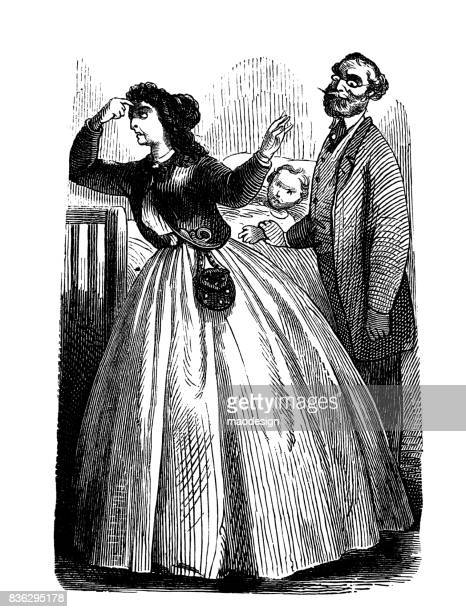woman is worried about her child who is being examined by a doctor - 1867 - antique stock illustrations, clip art, cartoons, & icons