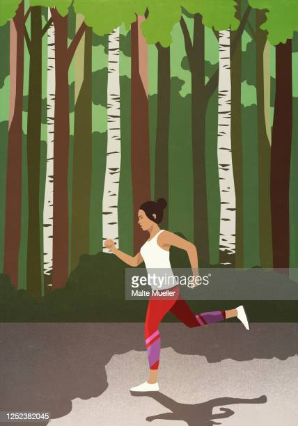 woman jogging in sunny park - outdoors stock illustrations