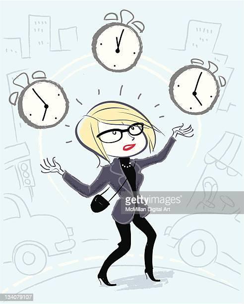 Woman juggling clocks