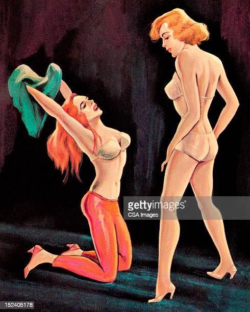 bildbanksillustrationer, clip art samt tecknat material och ikoner med woman kneeling in front of another woman - naket