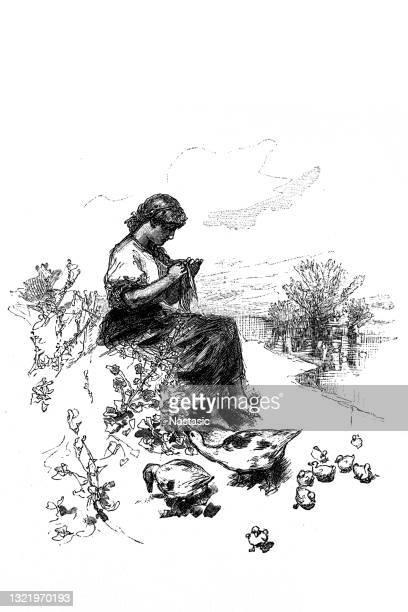 自然の中で編む女性 - 1800~1809年点のイラスト素材/クリップアート素材/マンガ素材/アイコン素材