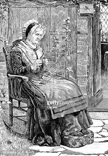 Woman Knitting - Victorian Illustration