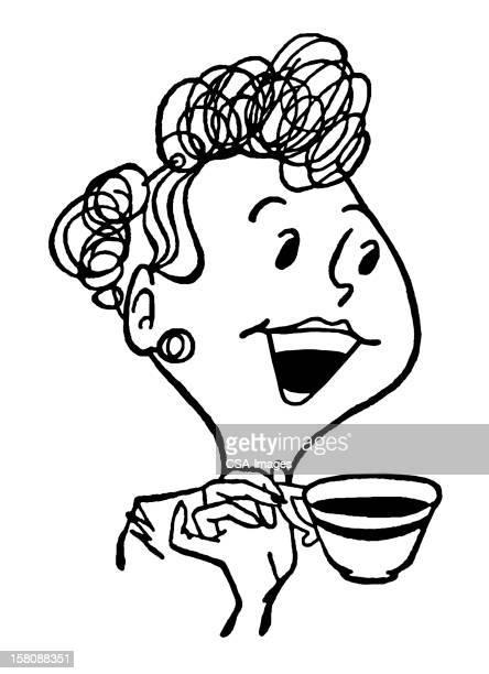 ilustraciones, imágenes clip art, dibujos animados e iconos de stock de mujer riendo de retención y café - mujeres de mediana edad
