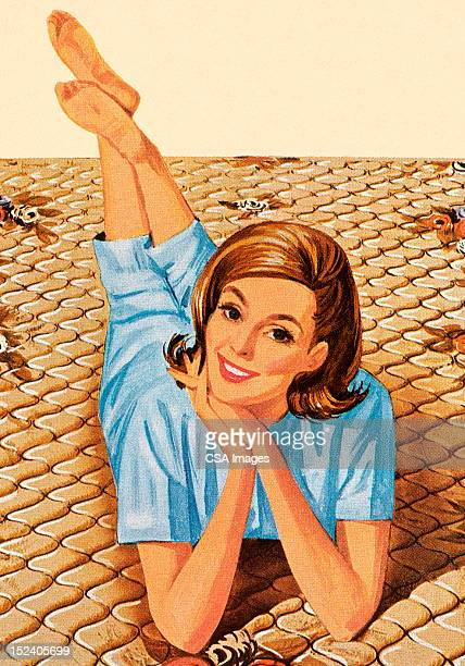 woman laying across bed - mattress stock illustrations, clip art, cartoons, & icons