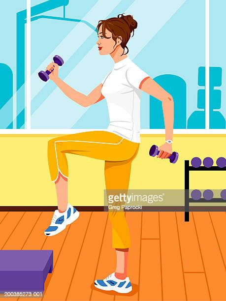 woman lifting barbells while doing step aerobics, side view - standing on one leg stock illustrations, clip art, cartoons, & icons