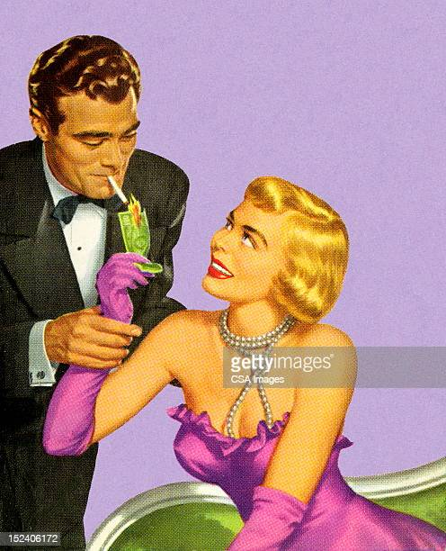 Woman Lighting Man's Cigarette