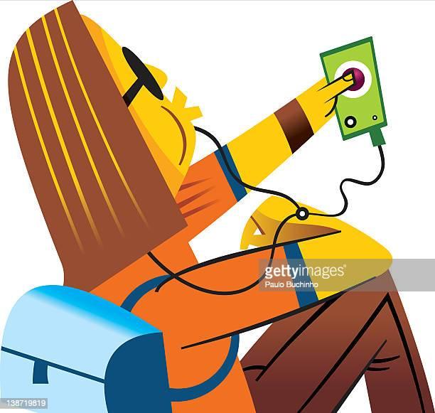 ilustrações de stock, clip art, desenhos animados e ícones de a woman listening to music on her portable music player - buchinho