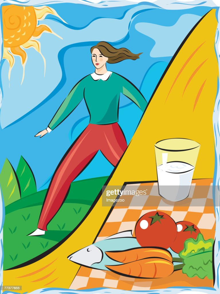 Woman living a healthy lifestyle : Illustration