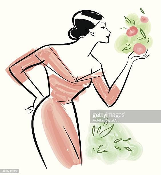 woman looking at flowers - updo stock illustrations, clip art, cartoons, & icons