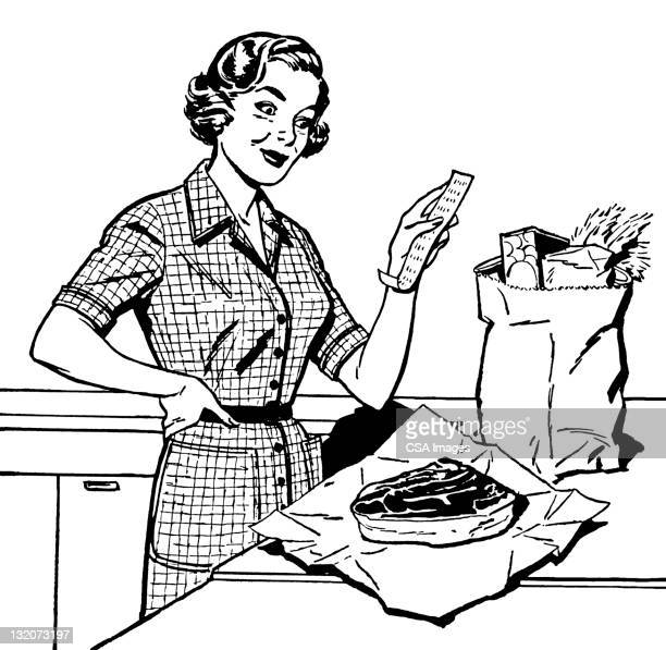 woman looking at grocery receipt - one mid adult woman only stock illustrations