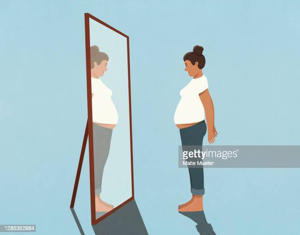 woman looking at large stomach in mirror - full length stock illustrations