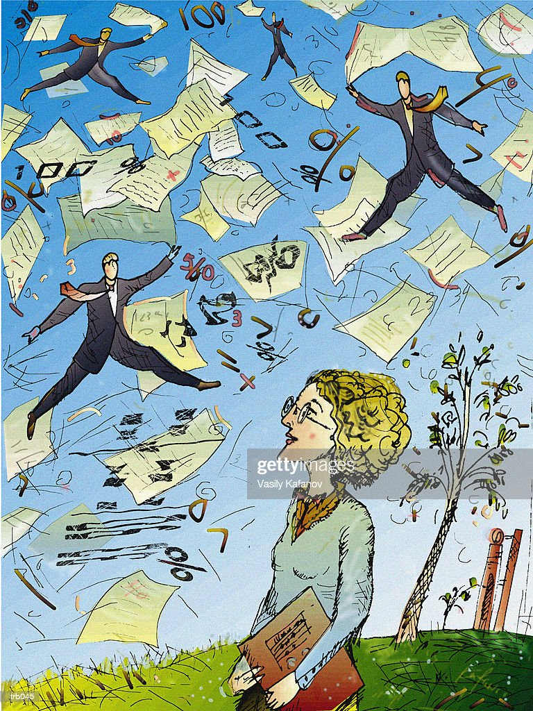 Woman Looking at Men & Paperwork : Ilustración de stock