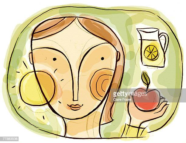 A woman looking at sources of vitamin c