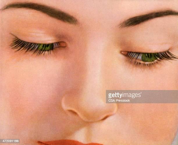 ilustrações, clipart, desenhos animados e ícones de mulher olhando para baixo - sobrancelha