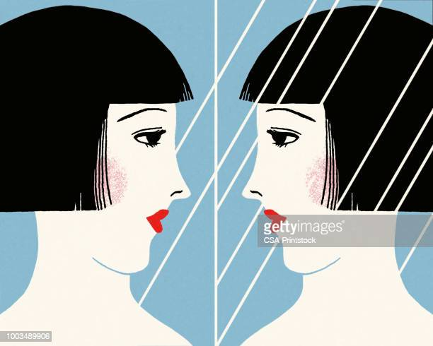 woman looking in a mirror - looking stock illustrations