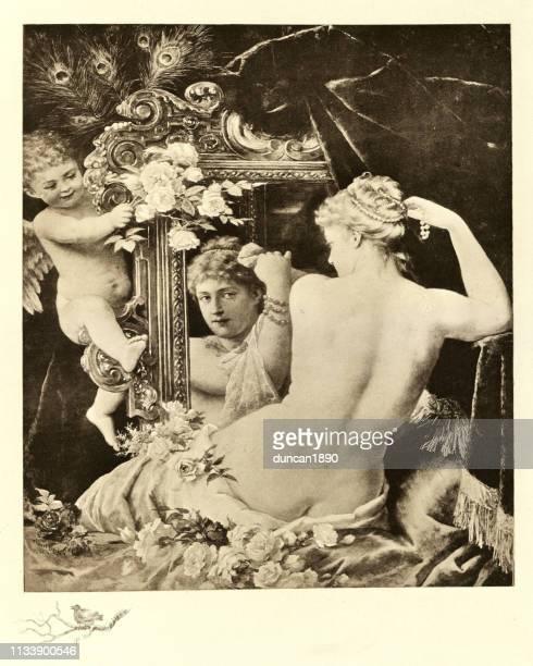 ilustraciones, imágenes clip art, dibujos animados e iconos de stock de mujer mirando en el espejo poniendo perlas en su cabello - mujer desnuda