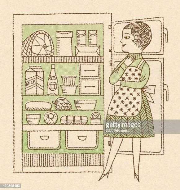 女性内でお探しの冷蔵庫 - 冷蔵庫点のイラスト素材/クリップアート素材/マンガ素材/アイコン素材