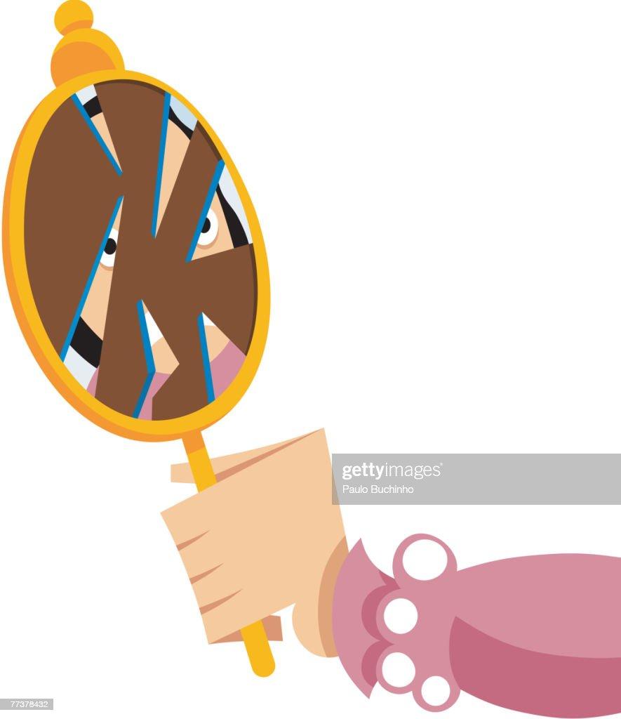 A woman looking into a broken mirror : Illustration