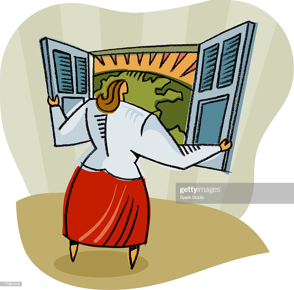 A woman looking outside of her window : Illustration
