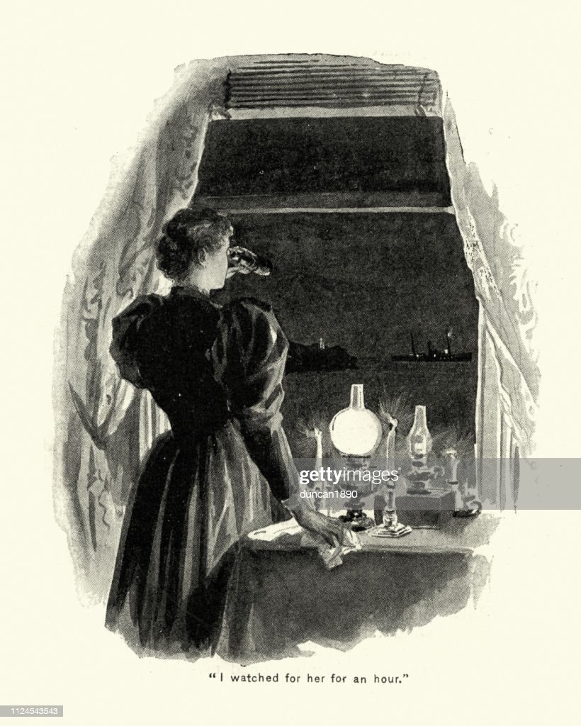 Woman looking through binoculars at a ship, 19th Century : stock illustration