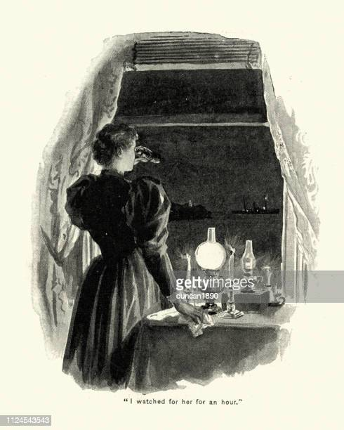 Woman looking through binoculars at a ship, 19th Century
