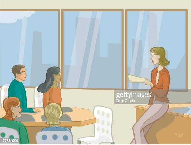 a woman looking through filing cabinets - small group of people stock illustrations