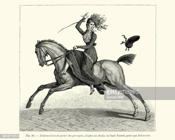 woman losing her hat while riding a horse side saddle - 18th century stock illustrations