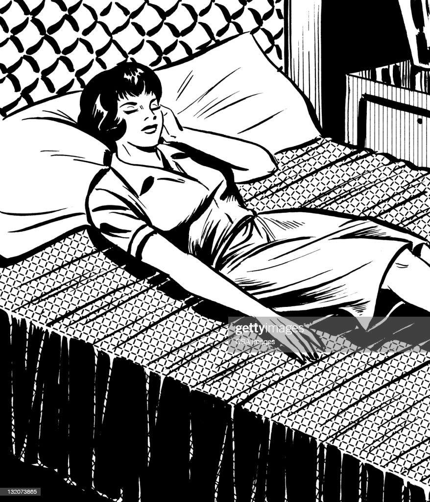 Woman Lying in Bed : stock illustration
