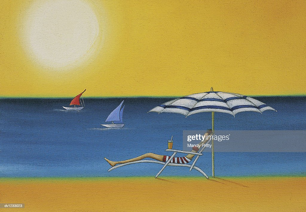 Woman Lying on a Sun Lounger Under a Parasol on a Sunny Beach : Stock Illustration