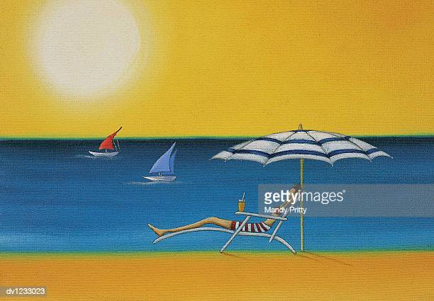 bildbanksillustrationer, clip art samt tecknat material och ikoner med woman lying on a sun lounger under a parasol on a sunny beach - mandy pritty