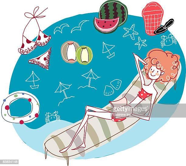 illustrations, cliparts, dessins animés et icônes de woman lying on pool raft in swimming pool - matelas pneumatique